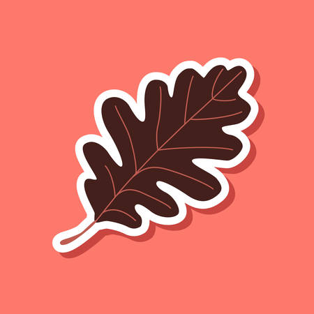 paper sticker on stylish background of Oak Leaf