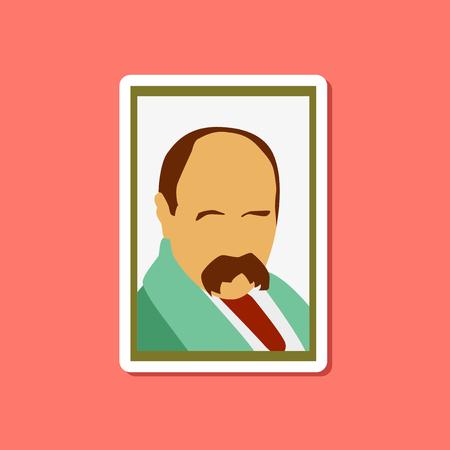 paper sticker on stylish background Taras Shevchenko