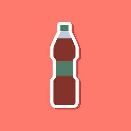 aerated: paper sticker on stylish background soda bottle Illustration