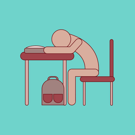flat icon with thin lines student sleeping at desk Stock Vector - 75570635