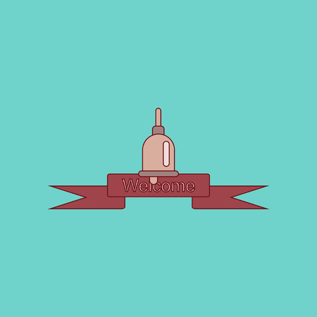 flat icon with thin lines school bell Illustration