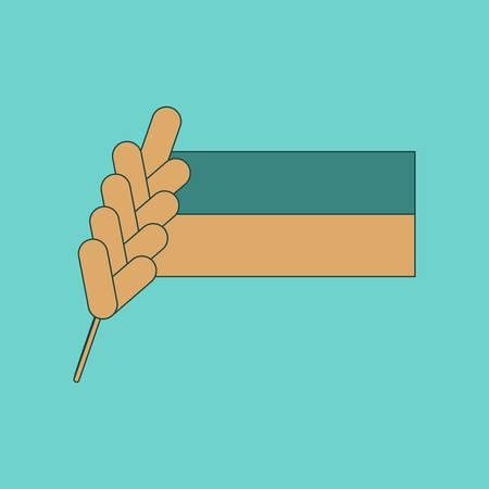 flagstaff: flat icon on background Ukrainian flag