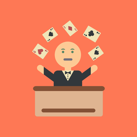 flat icon on stylish background a poker man player Illustration