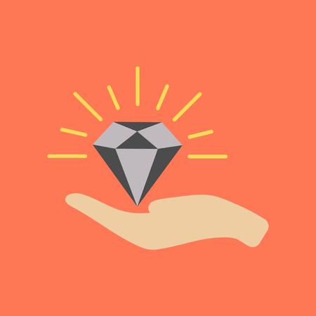 flat icon on stylish background poker Diamond in the hand Illustration
