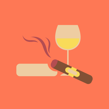 sobriety: flat icon stylish background poker cigar glass of wine Illustration