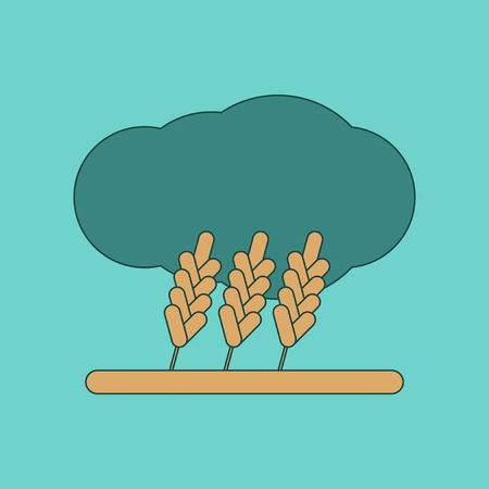 horizon over land: flat icon on background wheat cloud