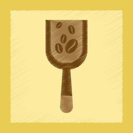 roasting: flat shading style icon coffee Scoop