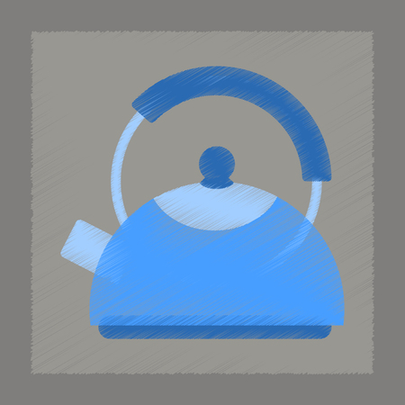 steam iron: flat shading style icon coffee kettle dishware Illustration