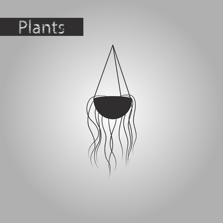 black and white style icon flower pot