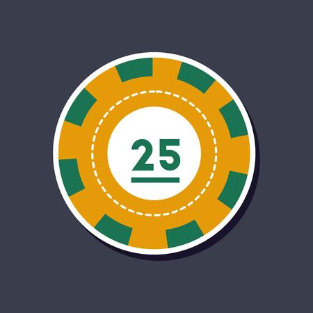 paper sticker on stylish background single poker chips