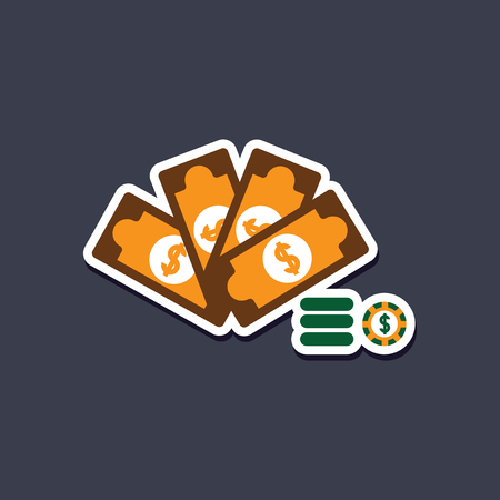 paper sticker on stylish background Money dice chips