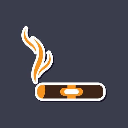 smolder: paper sticker on stylish background cuba cigar Illustration