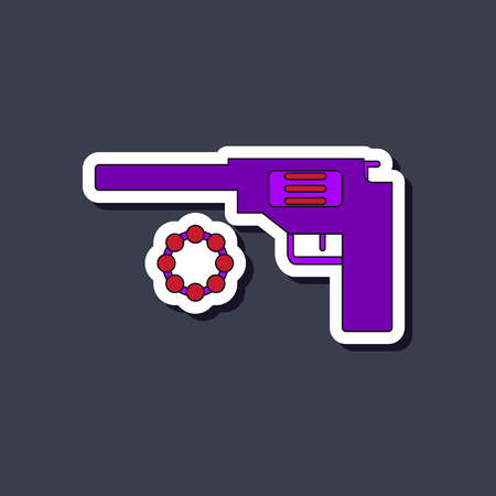 paper sticker on stylish background Kids toy pistol