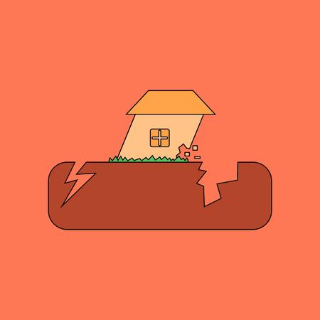 earthquake crack: flat icon stylish background natural disaster earthquake Illustration