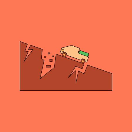 flat icon stylish background natural disaster earthquake Illustration
