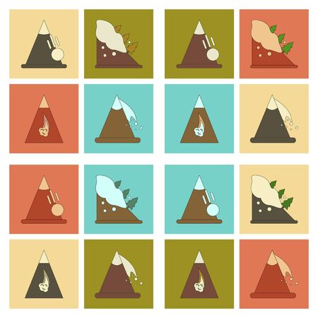 mountaineering: assembly flat icons mountains snow avalanche Illustration