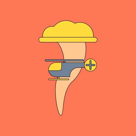 flat icon stylish background tornado helicopter