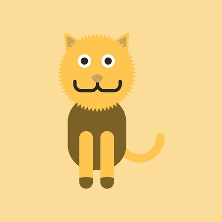 animal pussy: Flat icon on background pet cat
