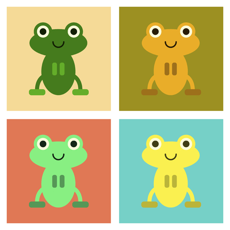 fairy: Assembly flat icons Cute frog cartoon