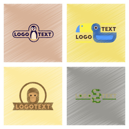 Assembly flat shading style icons logo penguin snake monkey bird