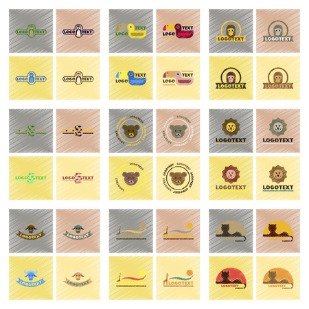 assembly flat shading style icons logo bear lion giraffe penguin snake monkey bird bull