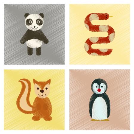 antarctica: Assembly flat shading style icons Panda bear snake squirrel penguins