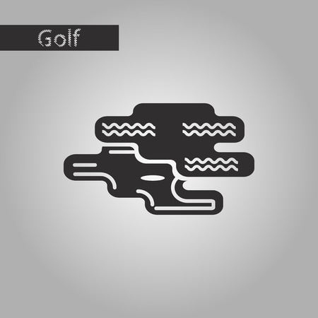 golfball: black and white style icon Golf hole Illustration