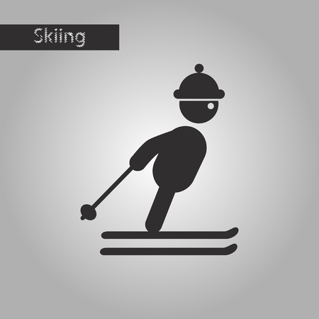 black and white style icon skier Illustration