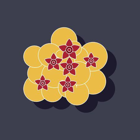 a sprig: paper sticker on stylish background plant Caltha