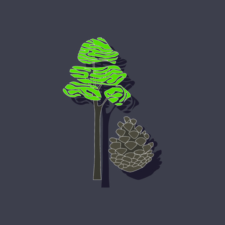 paper sticker on stylish background plant Pinus Illustration