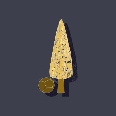 cypress: paper sticker on stylish background plant Cupressus Illustration