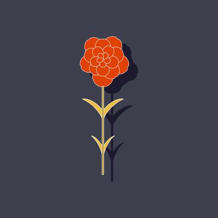 paper sticker on stylish background plant Dianthus Illustration