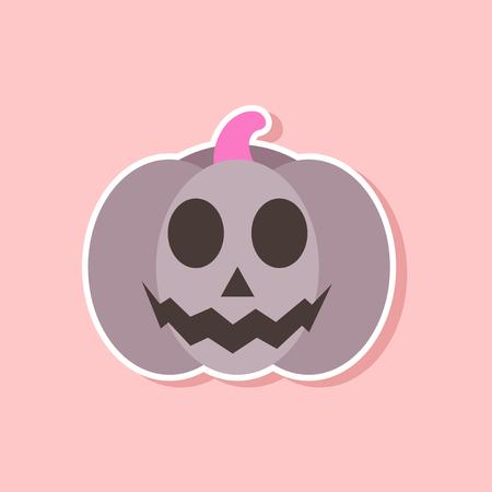 paper sticker on stylish background halloween pumpkin