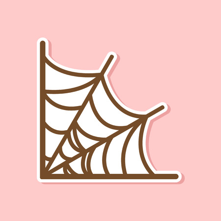 terrifying: paper sticker on stylish background spiders web Illustration