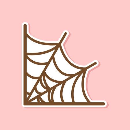 paper sticker on stylish background spiders web Illustration