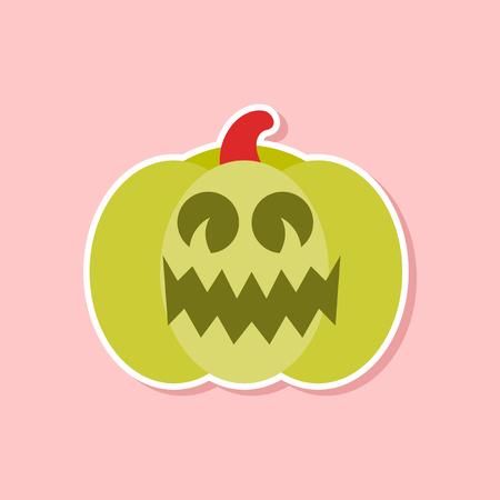 paper sticker on stylish background of halloween pumpkin Illustration