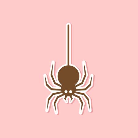 papier sticker op stijlvolle achtergrond van halloween spin Stock Illustratie