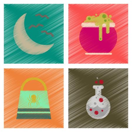 antidote: Assembly flat shading style icons halloween bag potion bottle moon bats cauldron