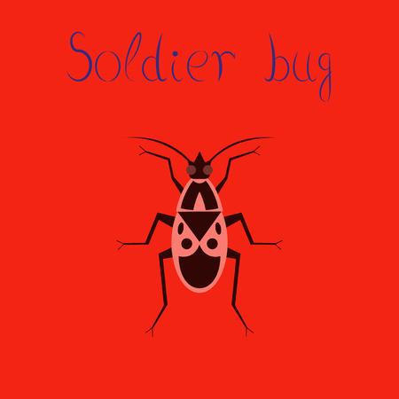 Flat icon on background soldier bug Illustration