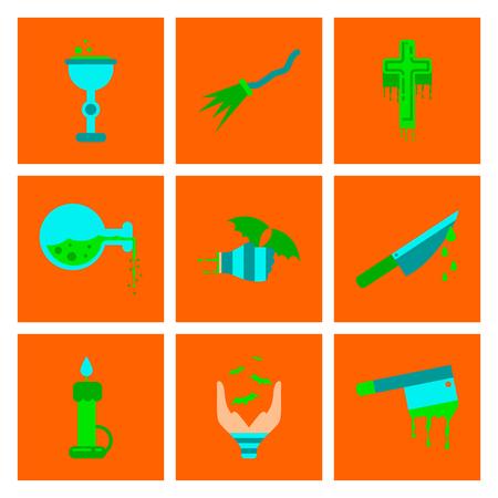 elixir: Assembly flat icons knife blood wax candle hand bat