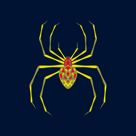 flat illustration on background of halloween spider