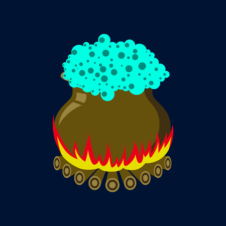 boiler: Flat illustration on background of potion cauldron Illustration