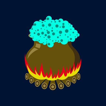 pocima: Flat illustration on background of potion cauldron Vectores