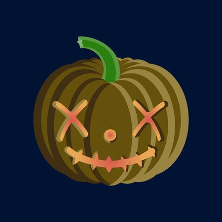 Flat illustration on background of Halloween pumpkin emotions
