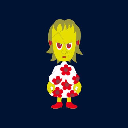 Flat illustration on background of zombie woman Illustration