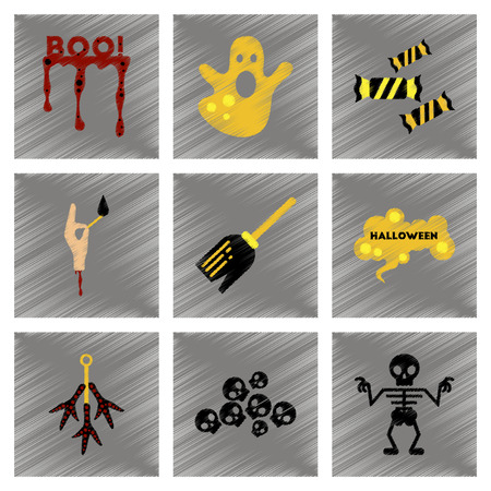 phantom: assembly flat shading style icons halloween boo ghost candies Witch broom skeleton sign chicken feet skulls Illustration