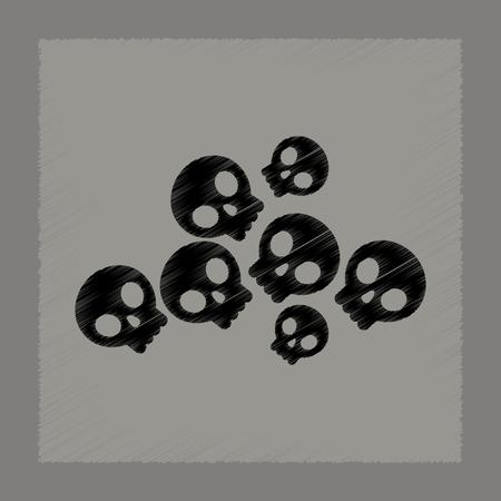 dangerous: Flat shading style icon halloween skulls