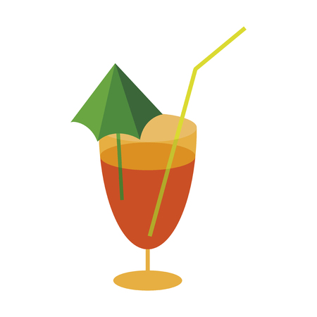 Sweet dessert in flat design cocktail Illustration