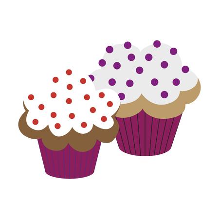 Sweet dessert in flat design Cupcakes