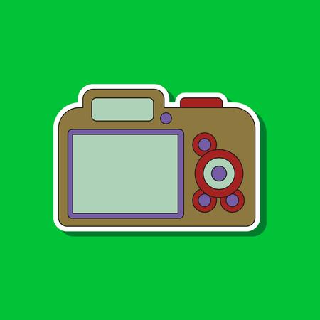 Paper sticker on background of camera